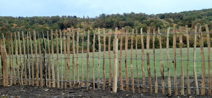 dřevěný plot ze štípaného akátu